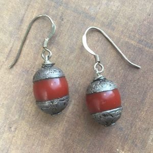 Tibetan amber silver capped sterling earrings
